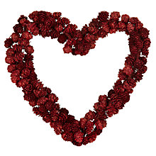 Buy John Lewis Red Glitter Pine Cone Heart Wreath, 25cm Online at johnlewis.com