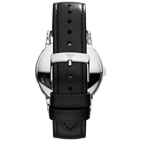 Buy Emporio Armani AR1692 Men's Leather Strap Watch, Black Online at johnlewis.com