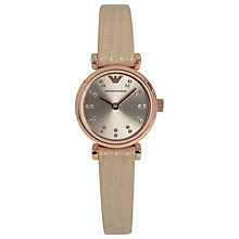 Buy Emporio Armani AR1687 Women's Crystal Dial Leather Strap Watch, Nude Online at johnlewis.com