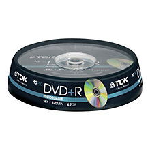 Buy TDK T19442 DVD+R Recordable DVDs, Pack of 10 Online at johnlewis.com