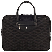 "Buy Knomo Mortimer 15"" Laptop Quilted Briefcase, Black Online at johnlewis.com"