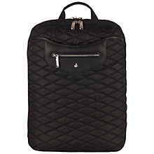 "Buy Knomo Montague 15"" Laptop Quilted Backpack, Black Online at johnlewis.com"