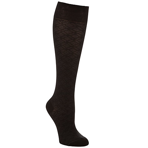 Buy John Lewis Viscose Diamond Knee High Socks, Black, Pack of 1 Online at johnlewis.com