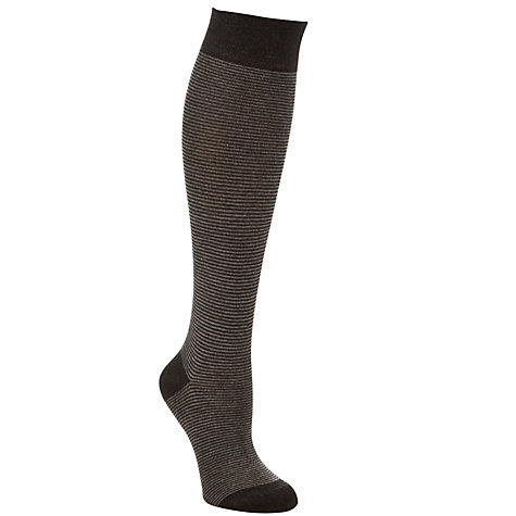 Buy John Lewis Viscose Stripe Knee High Socks, Grey/Black Online at johnlewis.com