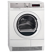 Buy AEG T86280IC ProTex Heat Pump Condenser Tumble Dryer, 8kg Load, B Energy Rating, White Online at johnlewis.com