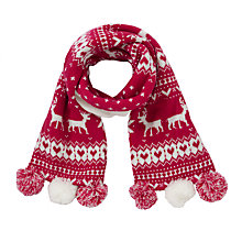 Buy John Lewis Girl Christmas Fair Isle Scarf, Red Online at johnlewis.com
