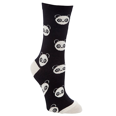 Buy John Lewis Panda and Stripe Ankle Socks, Pack of 3, Black/White Online at johnlewis.com