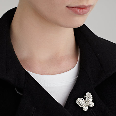 Buy John Lewis Diamante Butterfly Brooch, Silver Online at johnlewis.com