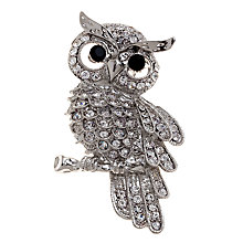 Buy John Lewis Owl Diamante Detail Brooch, Rhodium Online at johnlewis.com