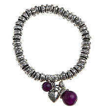 Buy John Lewis Heart and Bead Charm Stretch Bracelet, Purple Online at johnlewis.com