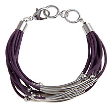 Buy John Lewis Multi-Cord Tube Detail Bracelet, Purple Online at johnlewis.com