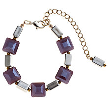 Buy John Lewis Faceted Square Bracelet, Purple Online at johnlewis.com