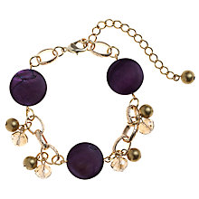 Buy John Lewis Cluster Charm Gold Plated Bracelet, Purple Online at johnlewis.com