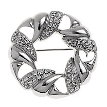 Buy John Lewis Open Wreath Crystal Brooch, Silver Online at johnlewis.com