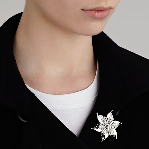 Buy John Lewis Diamante Flower Brooch, Silver Online at johnlewis.com