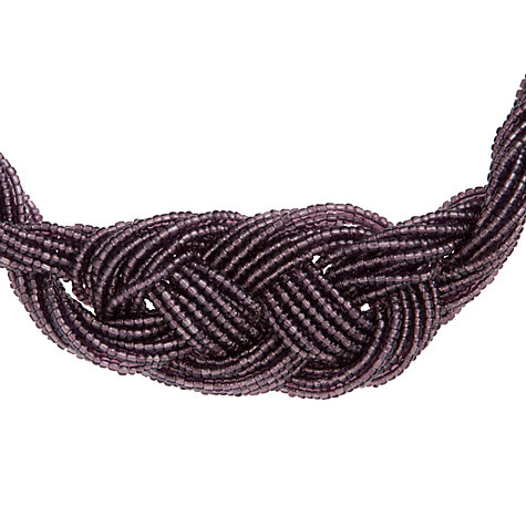 Buy John Lewis Plaited Seed Bead Statement Necklace, Purple Online at johnlewis.com