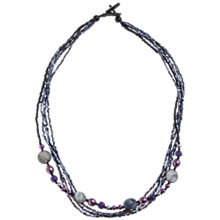 Buy John Lewis Sparkling Multi-Row Bead Necklace, Purple Online at johnlewis.com