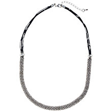 Buy John Lewis Metallic Bead and Cord Necklace, Silver / Purple Online at johnlewis.com