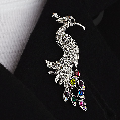 Buy John Lewis Peacock Diamante Detail Brooch, Multi Online at johnlewis.com