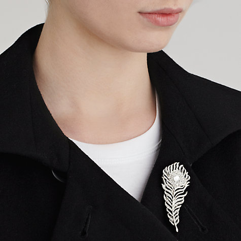Buy John Lewis Diamante Feather Brooch, Silver Online at johnlewis.com