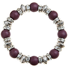 Buy John Lewis Rhodium Plated Rondelle Stretch Bracelet, Purple Online at johnlewis.com