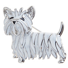 Buy John Lewis Scottie Dog Enamel Brooch, Silver / White Online at johnlewis.com