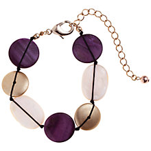 Buy John Lewis Flat Bead Assorted Bracelet, Gold / Purple Online at johnlewis.com