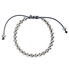 Buy John Lewis Grey Cord Friendship Bracelet, Silver Online at johnlewis.com