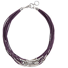 Buy John Lewis Multi-Cord Tube Detail Necklace, Purple Online at johnlewis.com