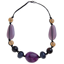 Buy John Lewis Statement Bead and Cord Necklace, Purple Online at johnlewis.com