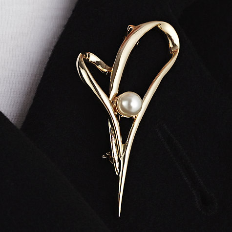 Buy John Lewis Heart Pearl Brooch, Gold Online at johnlewis.com