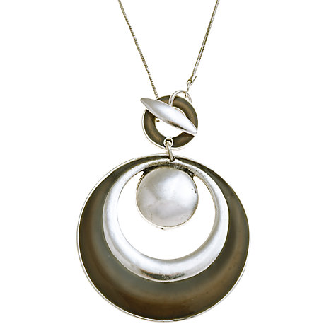 Buy John Lewis Rhodium Plated Enamel Circle Pendant, Grey Online at johnlewis.com