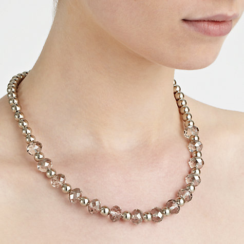 Buy John Lewis Sparkle Ball Crystal Necklace, Silver Online at johnlewis.com