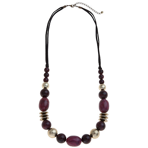 Buy John Lewis Suede Cord Bead Necklace, Purple / Gold Online at johnlewis.com