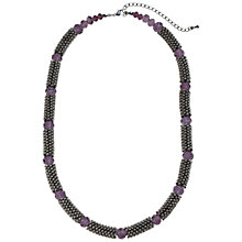Buy John Lewis Rhodium Plated Facet Bead Necklace, Purple Online at johnlewis.com
