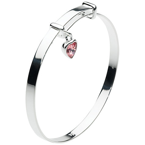Buy Kit Heath Kids Sterling Silver Swarovski Heart Expanding Bangle, Pink Online at johnlewis.com