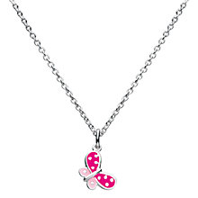 Buy Kit Heath Kids Sterling Silver Butterfly Pendant, Pink Online at johnlewis.com
