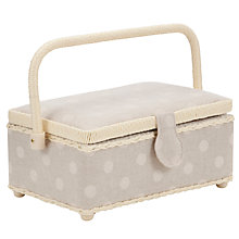 Buy John Lewis Spotted Sewing Basket, Natural Online at johnlewis.com