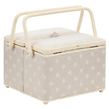 Buy John Lewis Spot Twin Lid Sewing Basket, Neutral Online at johnlewis.com