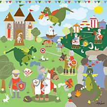 Buy Happy Spaces Knights and Dragons Canvas Print Online at johnlewis.com