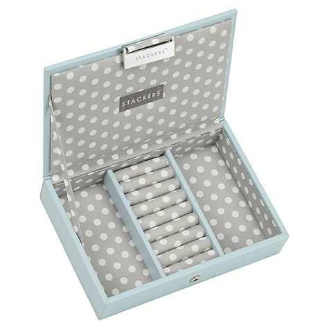 Buy Stackers Mini Jewellery Box Lid, Duck Egg Online at johnlewis.com