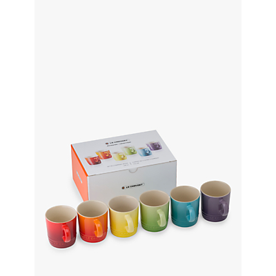 Le Creuset Rainbow Stoneware Espresso Mugs, Set of 6