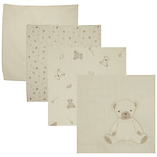 Buy John Lewis Baby Bear Muslin Squares, Pack of 6, Neutrals Online at johnlewis.com