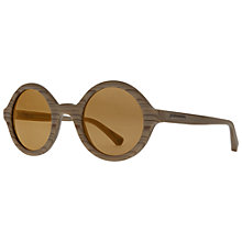 Buy Emporio Armani EA4011 509573 Round Framed Wood Effect Sunglasses, Beige Online at johnlewis.com