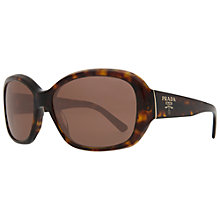 Buy Prada PR31NS Oversized Round Square Acetate Sunglasses, Brown Tortoise Online at johnlewis.com