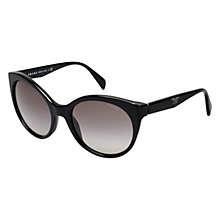 Buy Prada PR23OS 1AB3M1 Oval Cat's Eye Sunglasses, Black Online at johnlewis.com