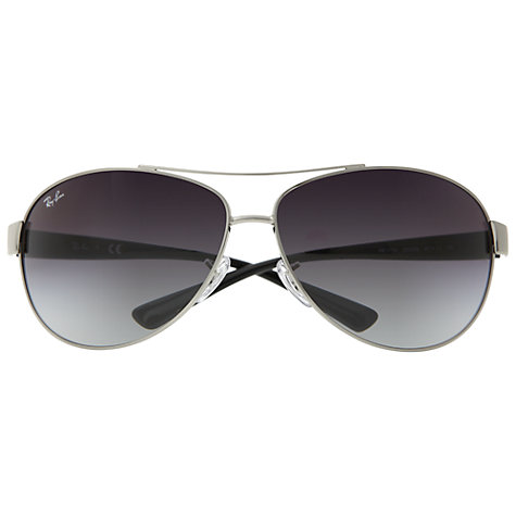 Buy Ray-Ban RB3386 003/8G Oval Aviator Metal Framed Sunglasses, Silver/Grey Online at johnlewis.com