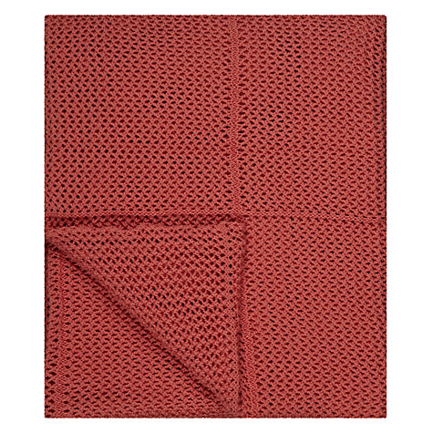 Buy Jigsaw Crotcheted Throw, Coral Online at johnlewis.com