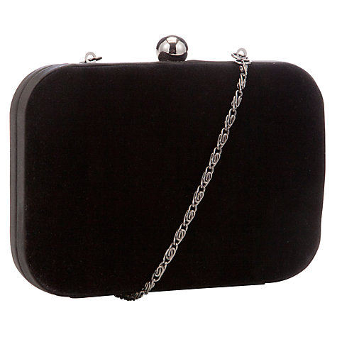 Buy John Lewis Velvet Box Clutch, Black Online at johnlewis.com