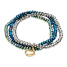 Buy One Button Triple Row Glass Bead Bracelet, Blue Online at johnlewis.com